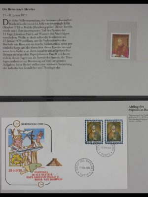 Stamp collection 27368 Pope travels 1979-1993.