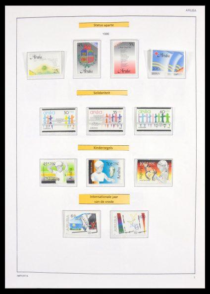 Stamp collection 30039 Aruba 1986-2010 and Surinam 1948-2003.