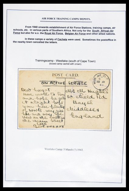 Stamp collection 30327 South Africa Military training camps 2nd world war.