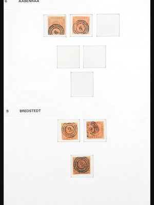 Stamp collection 31139 Denmark cancels 1854-1863.