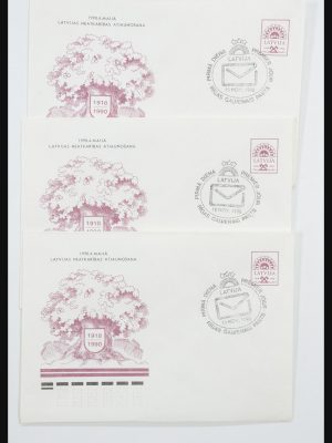 Stamp collection 31584 Latvia covers/FDC's and postal stationeries 1990-1992.