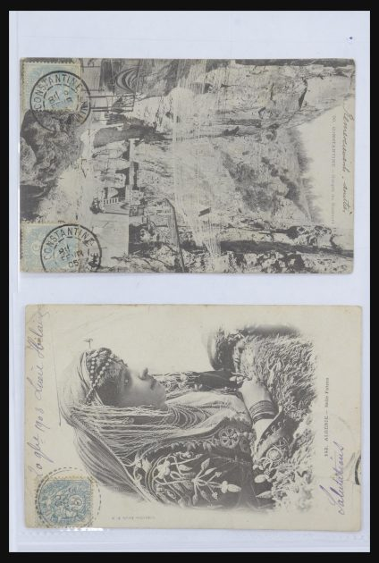 Stamp collection 31666 French colonies picture postcards 1900-1910.