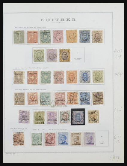 Stamp collection 31881 Eritrea 1893-1941.